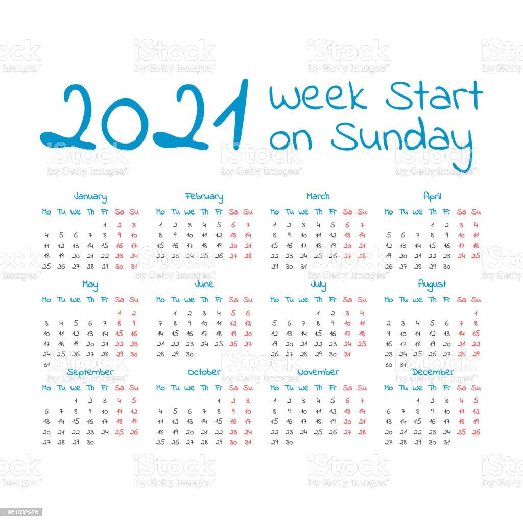Simple 2021 year calendar - Royalty-free 2021 stock vector