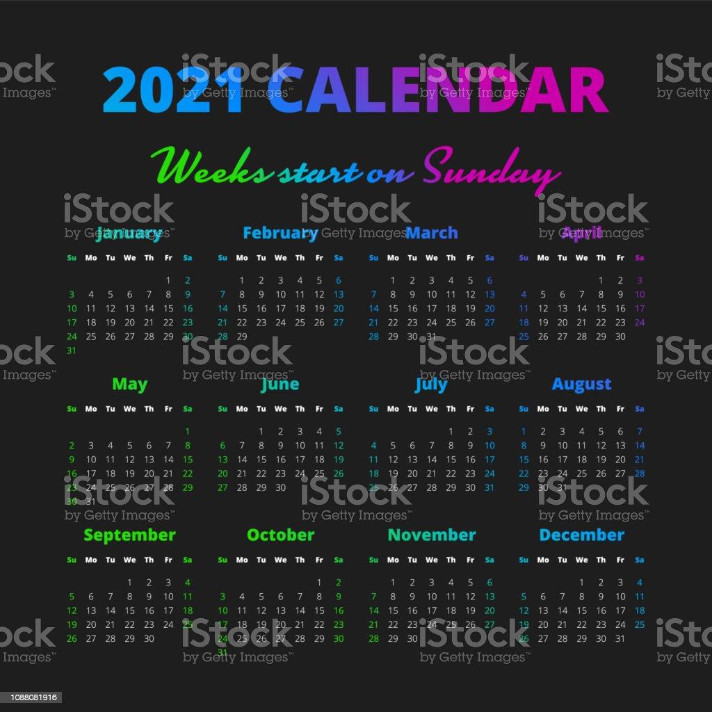Einfache 20 Jahreskalender Wochen Beginnen Am Sonntag Stock ...