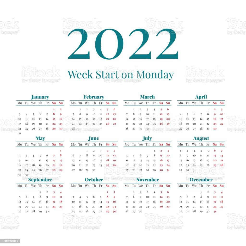 Calendrier De Lannée 2022 Calendrier De Lannée 2022 Simple Vecteurs libres de droits et plus
