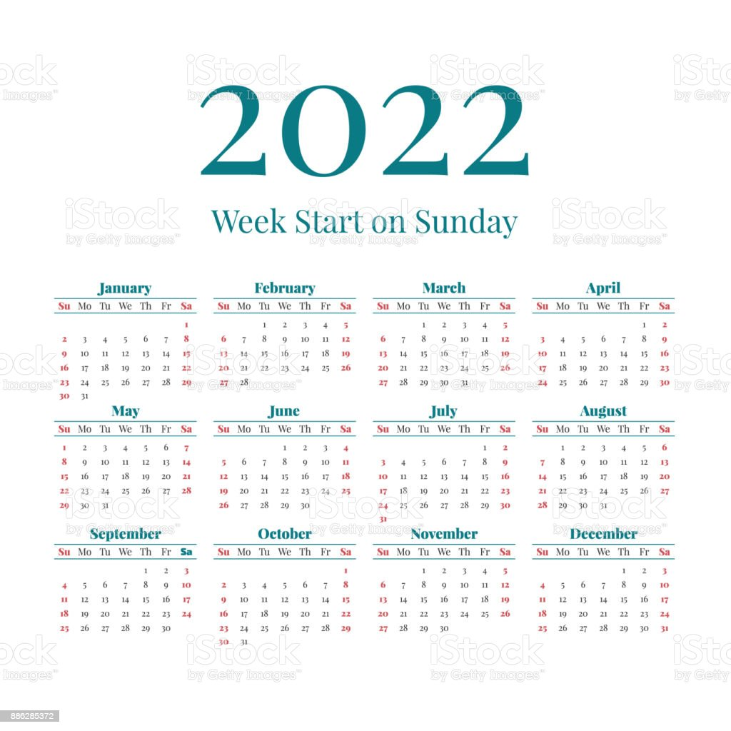 2022 19 Calendar.Simple 2022 Year Calendar Stock Illustration Download Image Now Istock