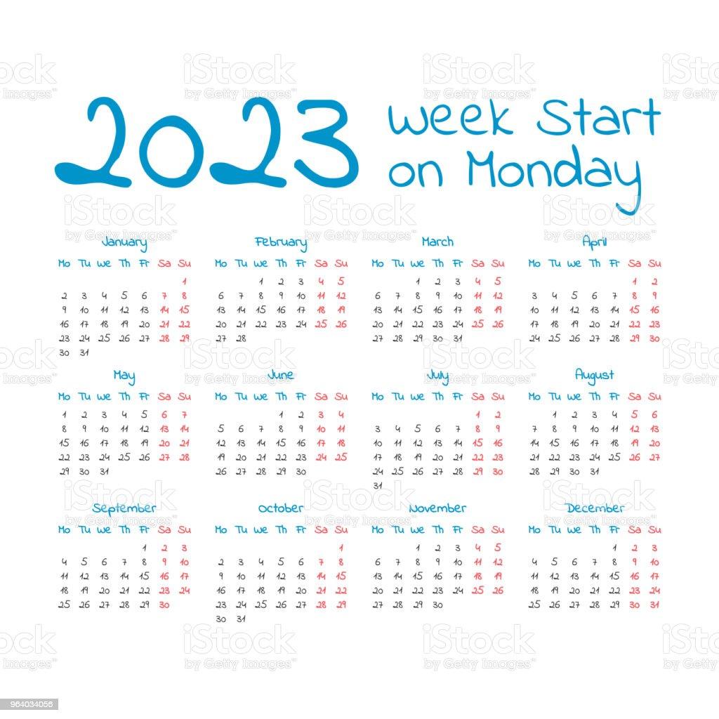 Simple 2023 year calendar - Royalty-free 2023 stock vector