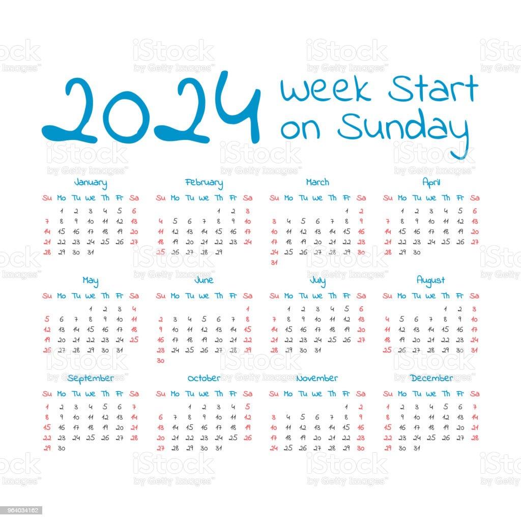 Simple 2024 year calendar - Royalty-free 2024 stock vector