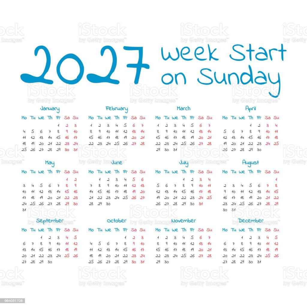 Simple 2027 year calendar - Royalty-free 2027 stock vector