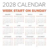 Simple 2028 year calendar