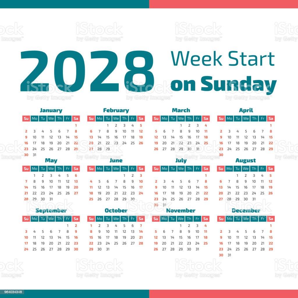 Simple 2028 year calendar - Royalty-free 2028 stock vector