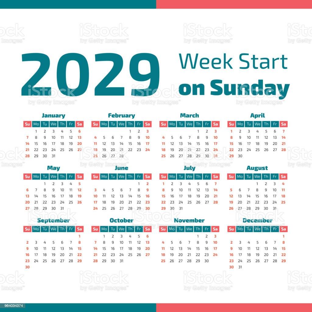 単純な 2029 年のカレンダー - 2029年のロイヤリティフリーベクトルアート
