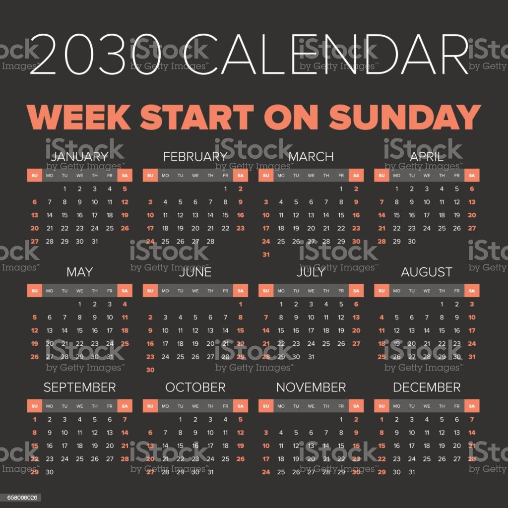 Simple 2030 year calendar royalty-free simple 2030 year calendar stock vector art & more images of annual