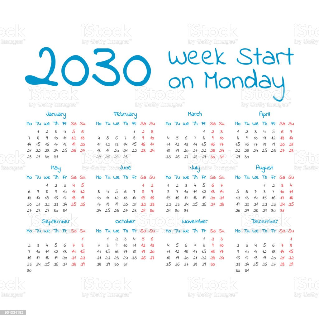 Simple 2030 year calendar - Royalty-free Annual Event stock vector