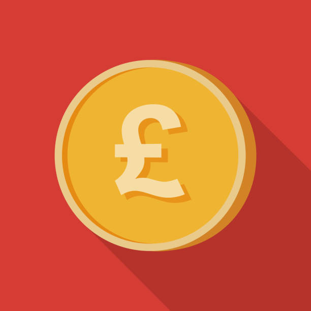 simple 3d view poundsterling coin illustration with long shadow isolated in red background - символ фунта stock illustrations