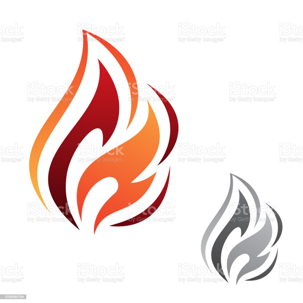 Simple Abstract Fire Flame Vector Icon For Graphic Design Web And