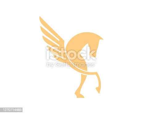 istock Simple abstract horse with flying wings 1270714465