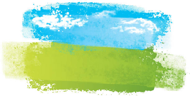 Simple abstract landscape Grunge blue and green landscape vector with half tone texture green golf course stock illustrations
