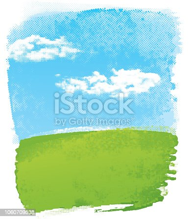 Grunge blue and green landscape vector with half tone texture