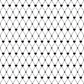 Simple abstract quilted seamless pattern with hearts and circles.