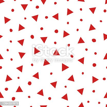 istock Simple abstract seamless pattern with triangles and dots. Holiday theme in red for wrapping paper. Background for children's holiday or christmas party decoration, wrapping paper, wallpaper, cards and greetings 1264337873