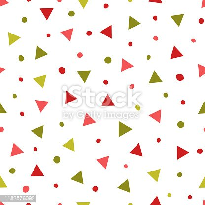 istock Simple abstract seamless patterns with triangles and dots. Holiday theme in red and green for wrapping paper. Background for children's holiday decoration 1182576092