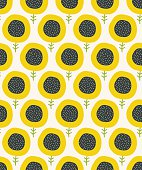 Simple abstract  sunflower pattern. Doodle pastel seamless background. Cute wallpaper. Vector illustration.
