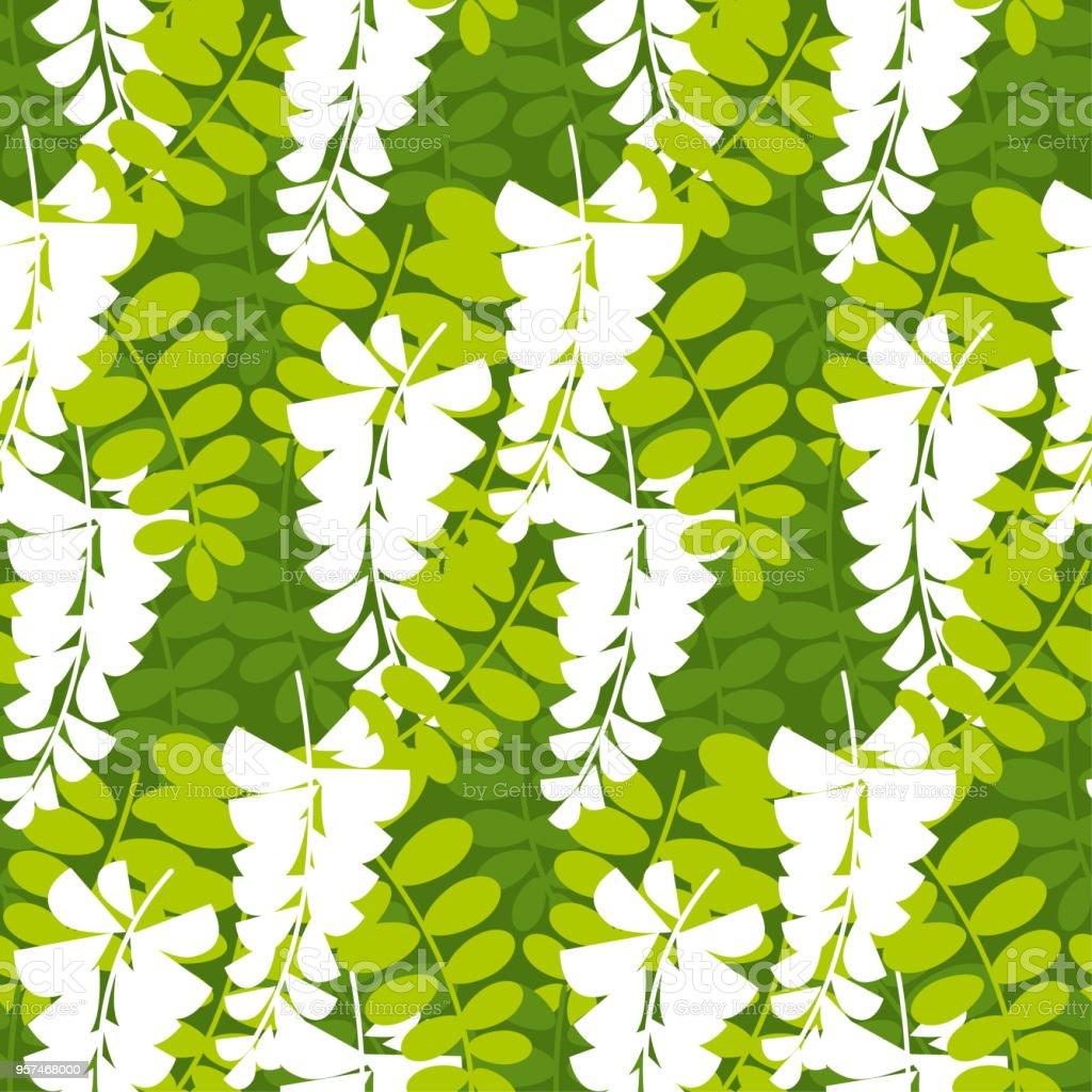 Ilustración De Simple Acacia árbol Flor De Patrones Sin Fisuras Y