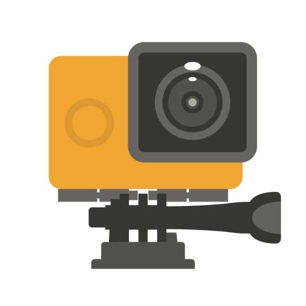 stockillustraties, clipart, cartoons en iconen met eenvoudige actie camerasymbool - plat video-cam - gopro
