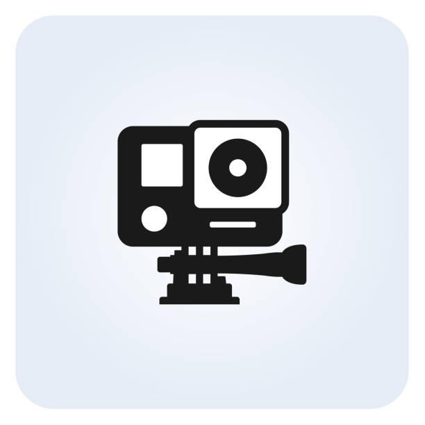 stockillustraties, clipart, cartoons en iconen met eenvoudige actie camera-icoontje - gopro