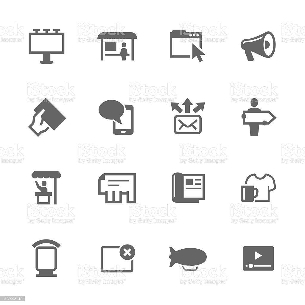 Simple Advertisement icons vector art illustration