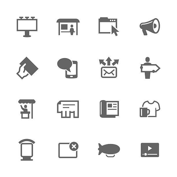 Icônes simples de publicité - Illustration vectorielle