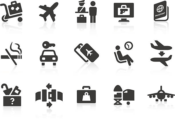Simple airport and travel vector icons Simple airport and travel related vector icons for your design and application. Files included: vector EPS, JPG, PNG. airport clipart stock illustrations