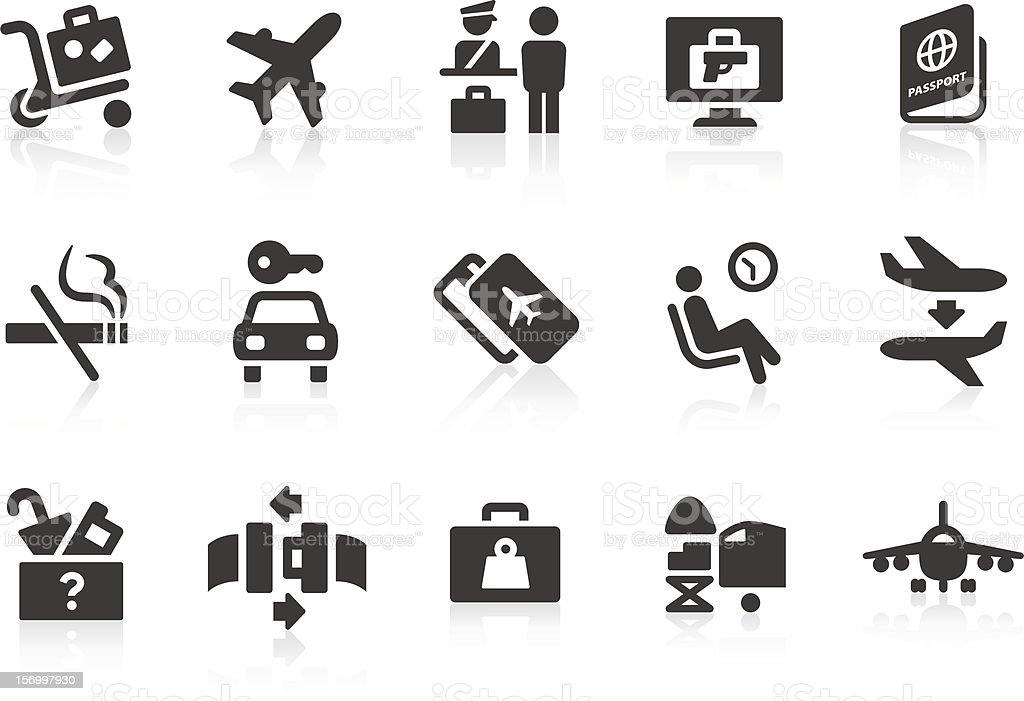 Simple vector iconos de aeropuerto y viajes - ilustración de arte vectorial
