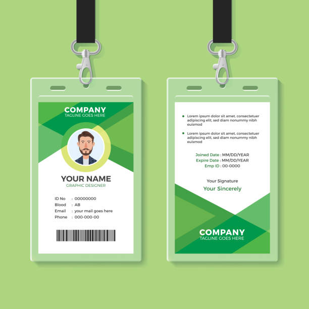 royalty free employee id card template clip art vector images