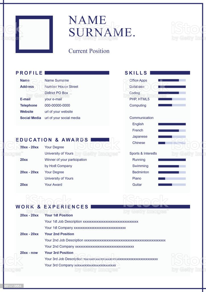 simple and clean professional look design resume template for formal