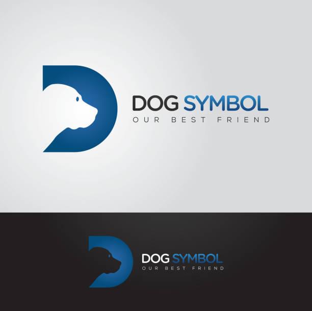 schlichte und raffinierte vektorgrafik hund und d buchstaben-symbol - hundehaarbögen stock-grafiken, -clipart, -cartoons und -symbole