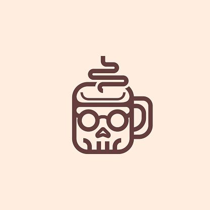 Simple And Conceptual Nerd Skull Coffee Cup Outline Brand Identity Icon Illustration