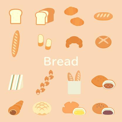 Simple And Cute Bread Illustration Set, Flat Design