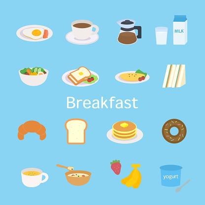 Simple And Cute Breakfast Illustration Set