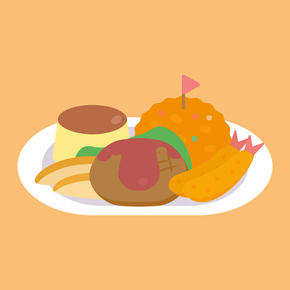 Simple And Cute kid's meal Clipart