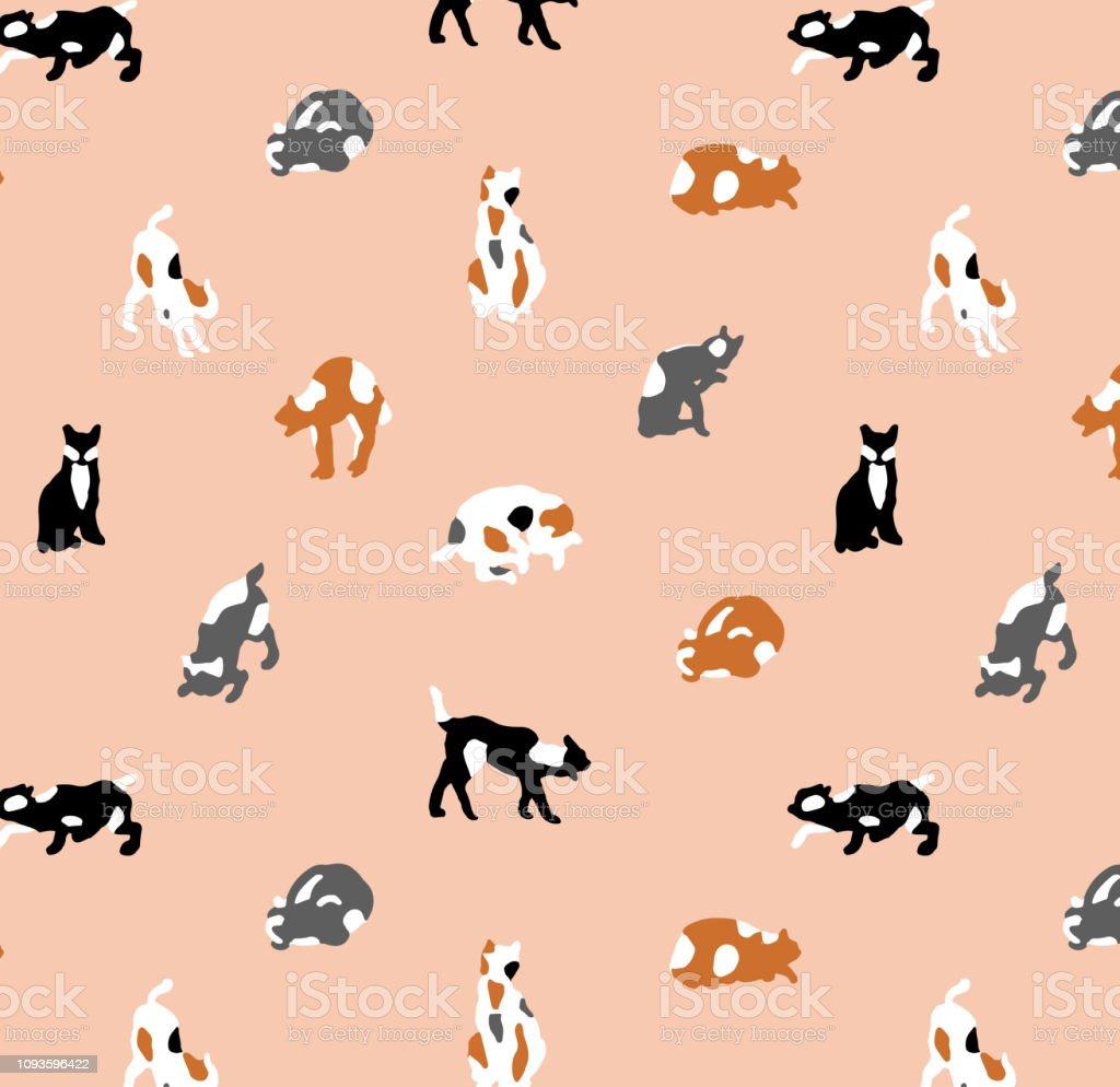 Simple y lindo minimalista en forma de gatos en diferentes posiciones. - ilustración de arte vectorial