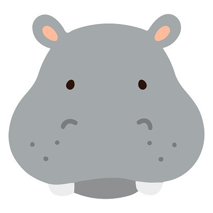 Simple and flat colored Hippo