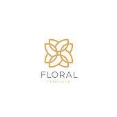 Simple and graceful floral emblem design template. Elegant line art symbol design, vector illustration.