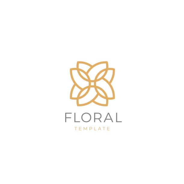 einfache und anmutige florale emblem design-vorlage. elegantes linienkunst-symboldesign, vektorillustration. - beauty stock-grafiken, -clipart, -cartoons und -symbole