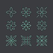 Simple and graceful floral monogram design template, Elegant lineart logo design, vector icon illustration. Modern Style