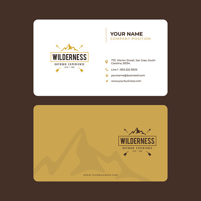 Simple and Modern Business Card Design in vector, Vintage Mountain Exploration
