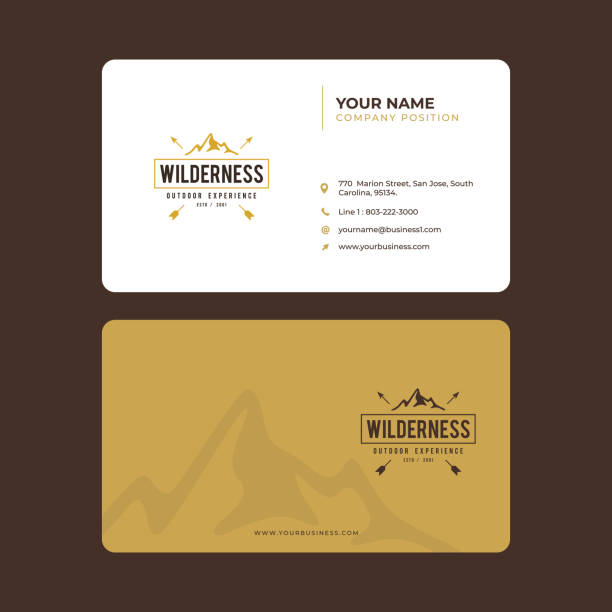simple and modern business card design in vector, vintage mountain exploration - business cards templates stock illustrations