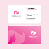 Simple and Modern Business Card Design in vector, Women Hairstyle