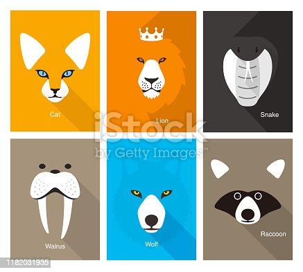simple animal portrait, flat vector illustration
