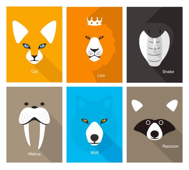 simple animal portrait, flat vector illustration simple animal portrait, flat vector illustration animal stock illustrations