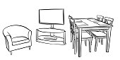 Simple apartment furniture including a television set, an arm chair and a kitchen table and chairs