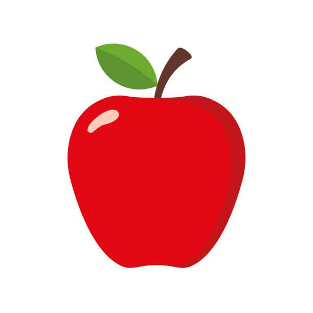 illustrazioni stock, clip art, cartoni animati e icone di tendenza di simple apple in flat style. vector illustration - mela