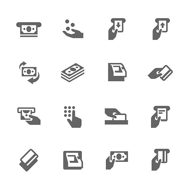 Simple ATM Icons Simple Set of ATM Related Vector Icons. Contains such icons as money, ATM machine, sliding card icon and more.  inserting stock illustrations