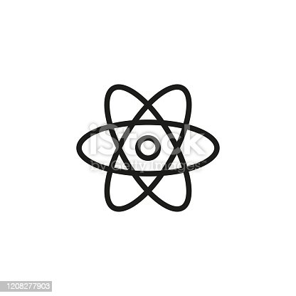 Simple atom line icon. Stroke pictogram. Vector illustration isolated on a white background. Premium quality symbol. Vector sign for mobile app and web sites.