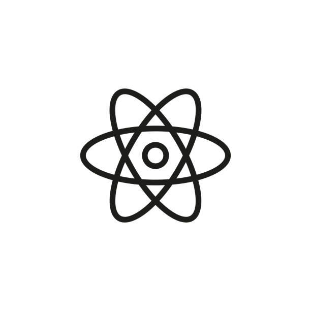 Simple atom line icon. Simple atom line icon. Stroke pictogram. Vector illustration isolated on a white background. Premium quality symbol. Vector sign for mobile app and web sites. atom stock illustrations